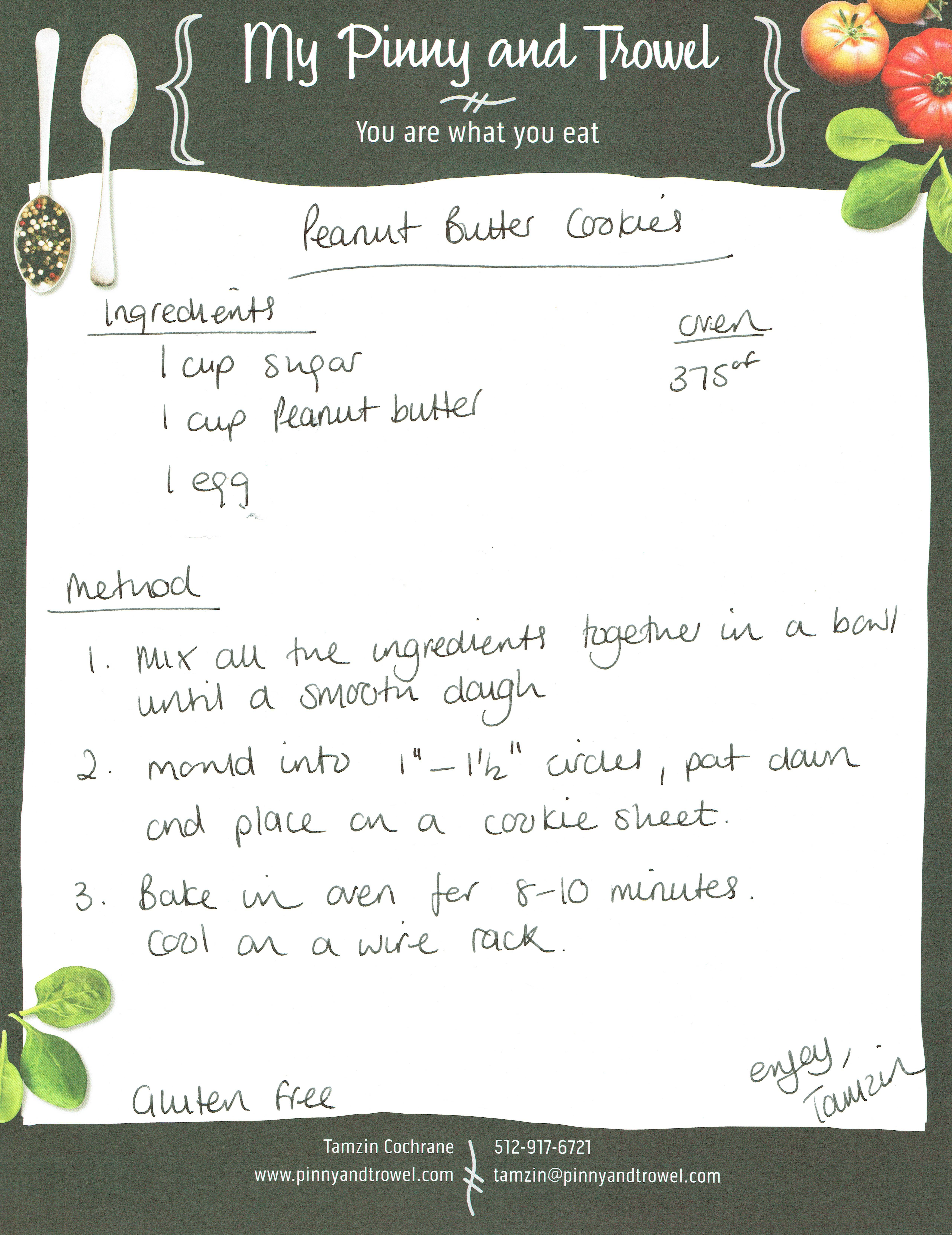Tamzin Cochrane peanut butter cookie recipe